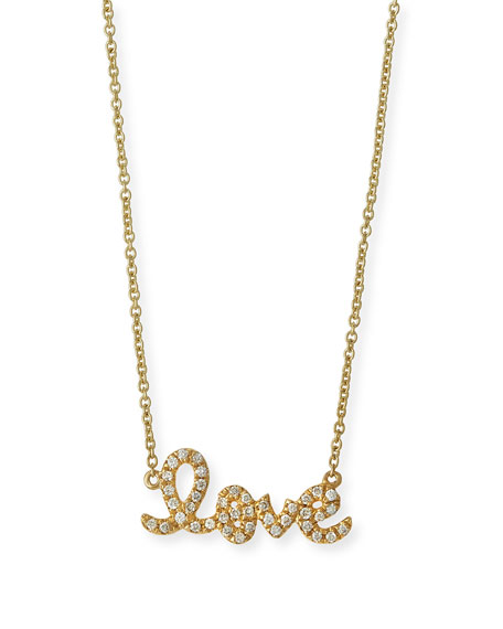 14k Yellow Gold Small Diamond Love Necklace