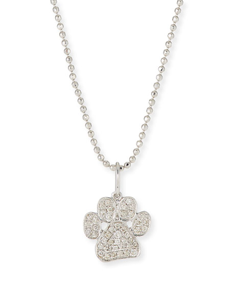 Image 1 of 2: Sydney Evan 14k White Gold & Diamond Paw Pendant Necklace, 16""