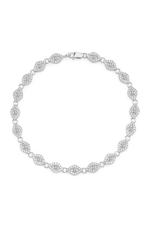 Sydney Evan Small Diamond Evil Eye Link Bracelet in 14K White Gold
