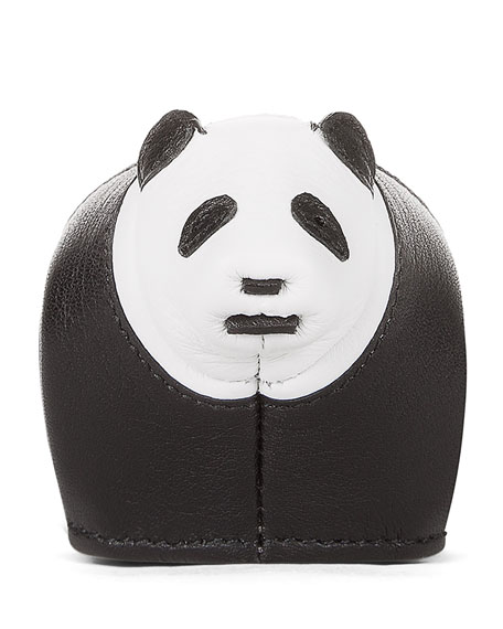 Leather Panda Key Chain, Black/White