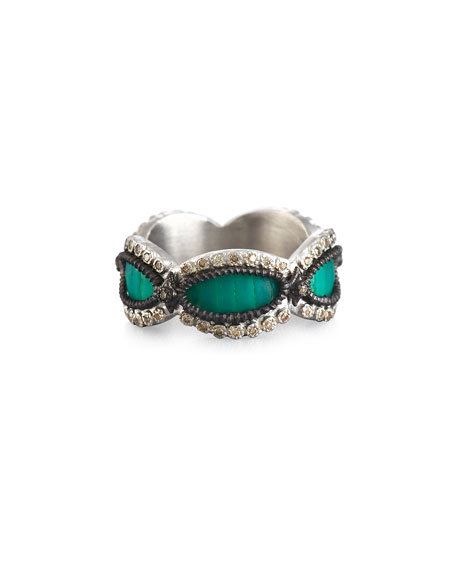 Armenta New World Teal Mosaic Scalloped Band Ring