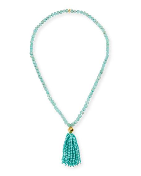 NEST Jewelry Amazonite Beaded Tassel Pendant Necklace, Blue