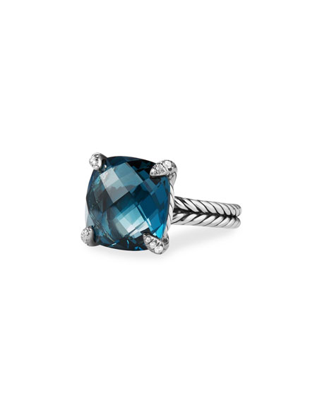David Yurman 14mm Ch??telaine Hampton Blue Topaz Ring