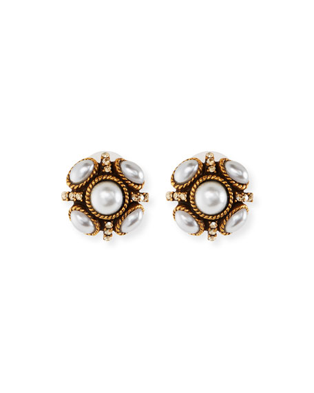 Oscar de la Renta Classic Crystal Button Earrings