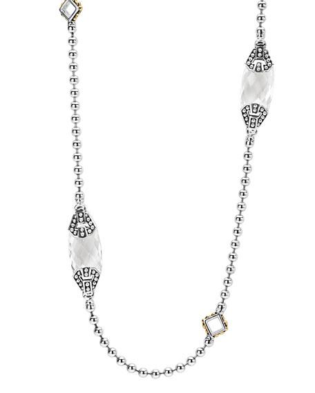 LAGOS Caviar Color White Topaz Station Necklace