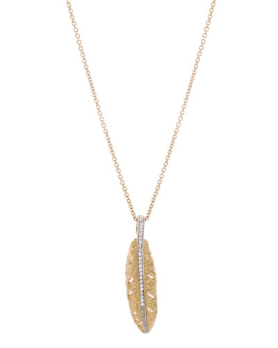 18K Gold Feather Pendant Necklace with Diamonds