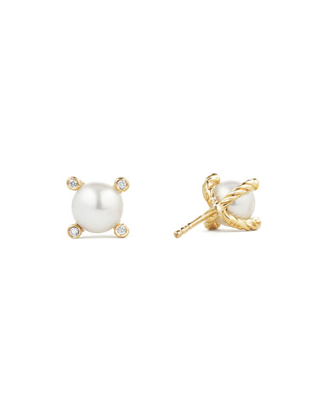 David Yurman Cable Collectibles 18k Diamond & Pearl Stud Earrings