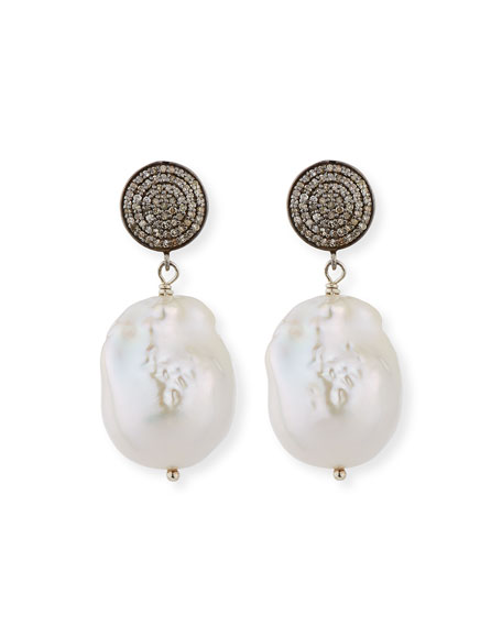 Margo Morrison Baroque Pearl, Pave Diamond & Crystal Drop Earrings