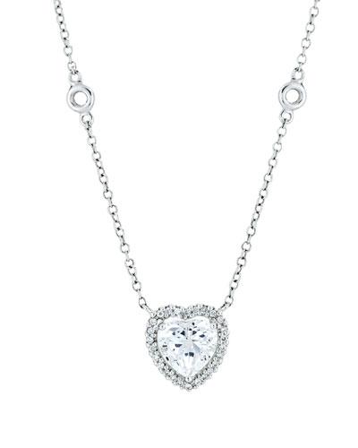 Grace 18k White Gold White Topaz Heart Pendant Necklace