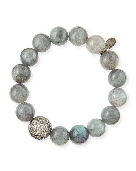 Sheryl Lowe 12mm Labradorite & Pave Diamond Bead Bracelet