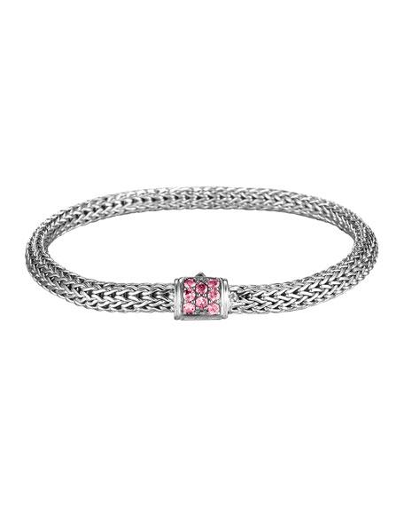 John Hardy Batu Classic Chain Silver Bracelet with Pink Spinel, Size M