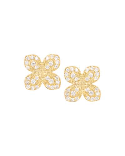 Scalloped Pave Diamond Flower Earrings  0.31 TCW