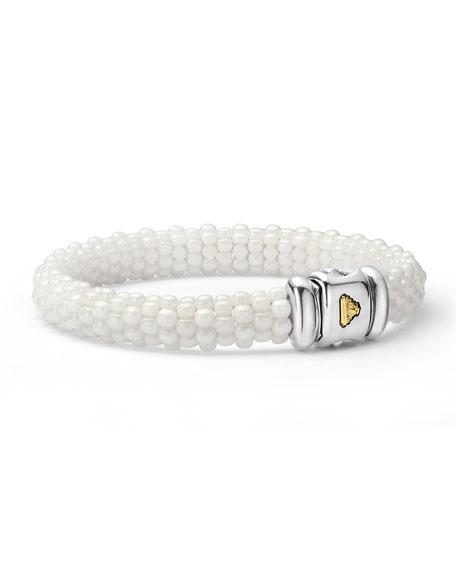 Medium Caviar Ceramic 9mm Bracelet, White