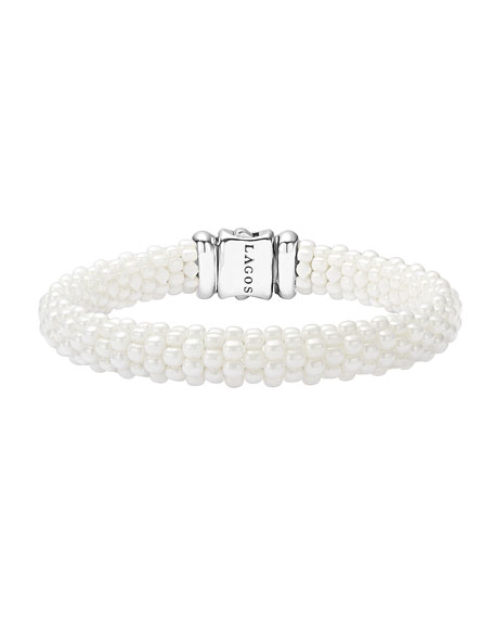 Lagos Medium Caviar Ceramic 9mm Bracelet, White