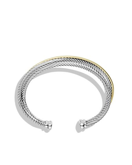 David Yurman Crossover Three-Row Cuff Bracelet with Gold
