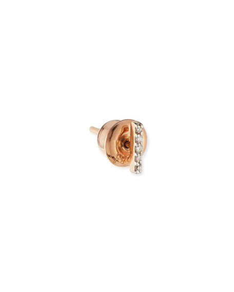Kismet by Milka Lumiere 14K Rose Gold & White Diamond Stick Earring