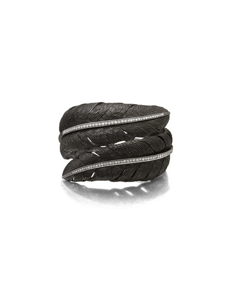 Feather Black Rhodium Bypass Bangle with White Diamonds