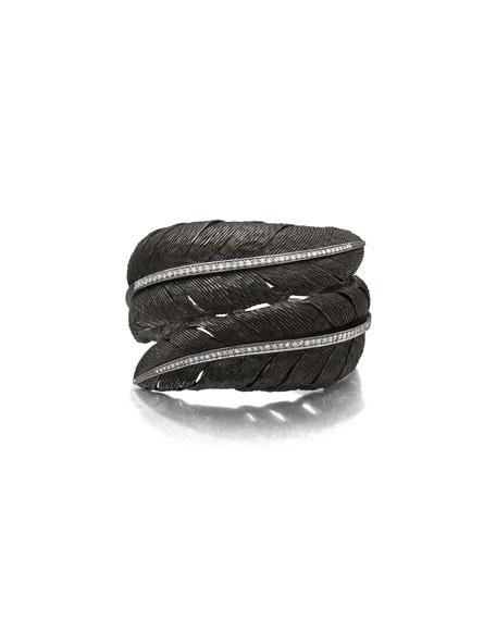 Feather Black Rhodium Bypass Bangle with White Diamonds