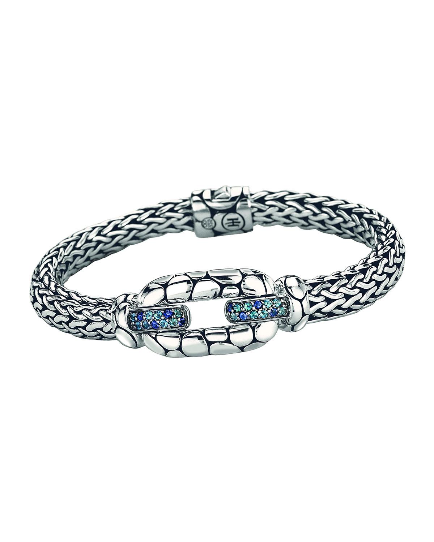 John Hardy Kali Sterling Silver Bangle Bracelet with Blue Topaz and Iolite oyEtcG