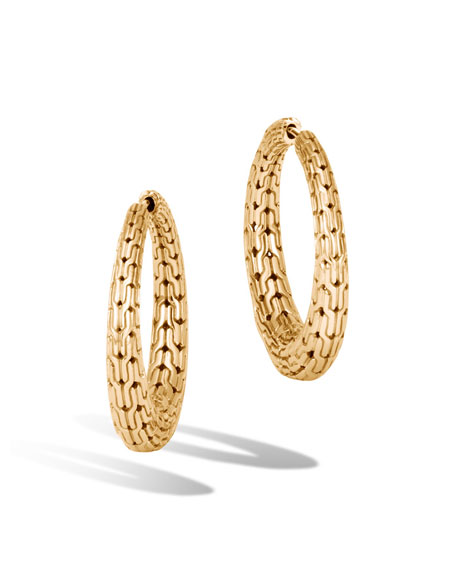 John Hardy Classic Chain 18K Gold Hoop Earrings