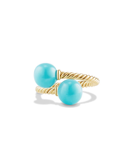 David Yurman Solari 18K Gold & Turquoise Bypass Ring, Size 7