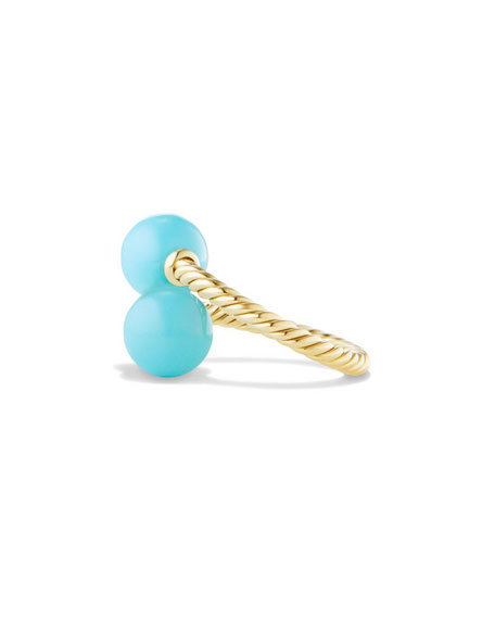 David Yurman Solari 18K Gold Bypass Ring with Turquoise Cabochons, Size 6