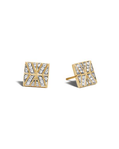 John Hardy Square Stud Earrings with Diamonds