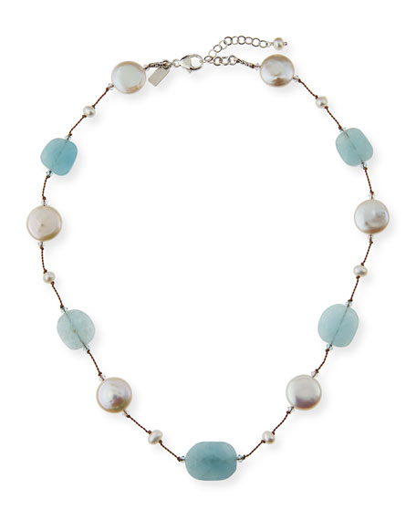 Aquamarine, Pearl & Crystal Station Necklace