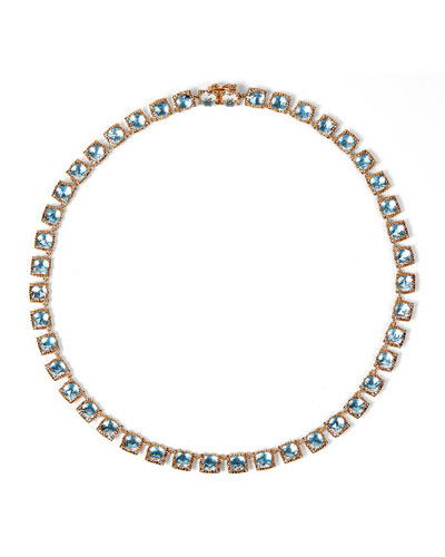 Bella Mini 18K Rose Gold-Washed Button Riviere Necklace  Sky Blue