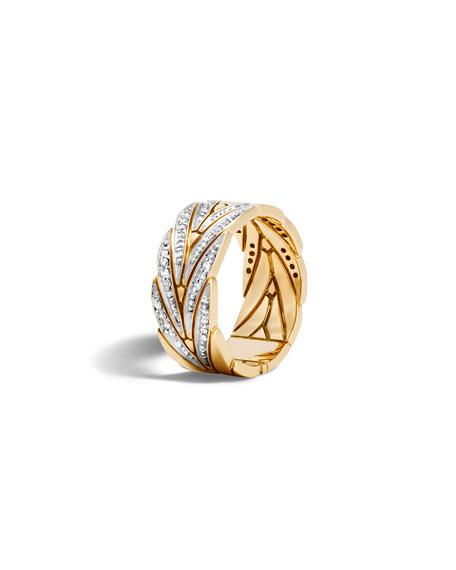 John Hardy 18k Gold Modern Chain Band Ring w/ Diamonds, Size 7