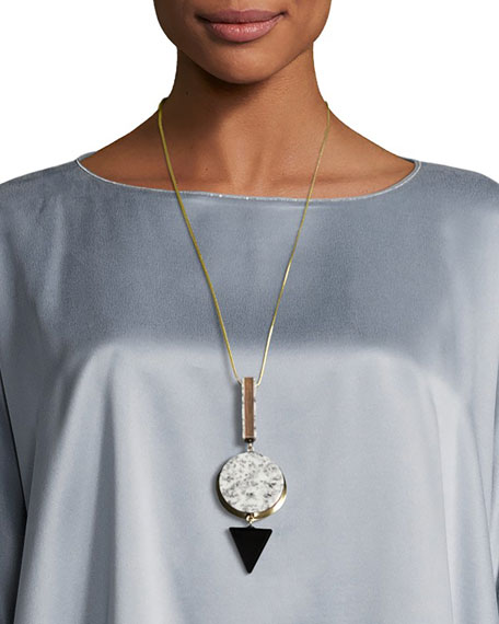 Long Geometric Pendant Necklace