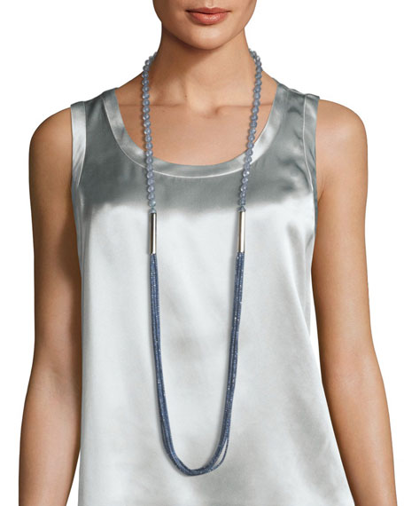 Bead and Mesh Long Necklace