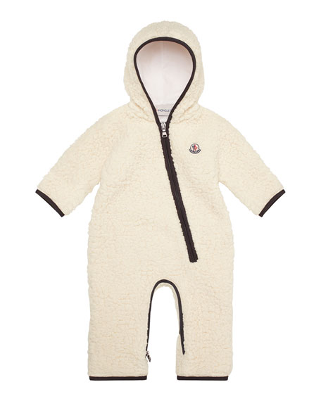 Fuzzy Hooded Fleece Coverall, White, Size 6M-2