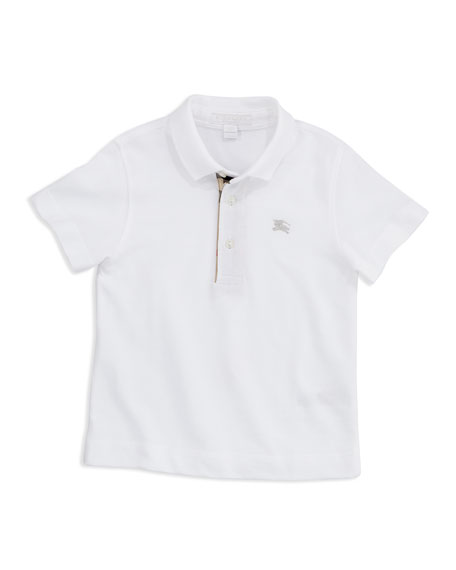Burberry Lencel Check-Trim Polo, White, 4Y-10Y