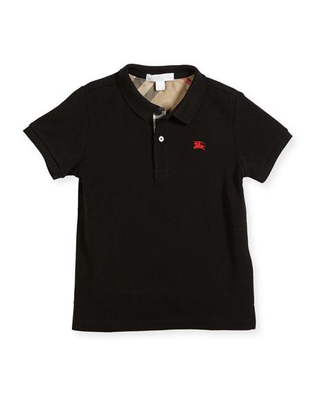 Mini PPM Jersey Polo Shirt, Black, Size 6M-3T