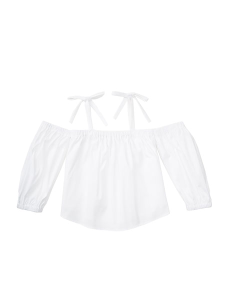 Milly Minis Stretch Poplin Tied Cold-Shoulder Top, White,