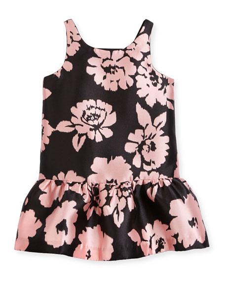 Milly Minis Sleeveless Floral Drop-Waist Smocked Dress,