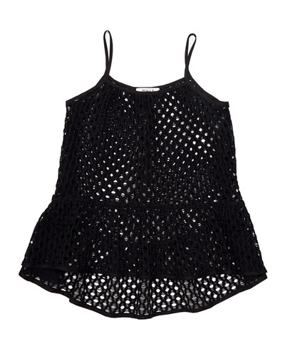 Netted Swim Coverup, Black, Size 8-14