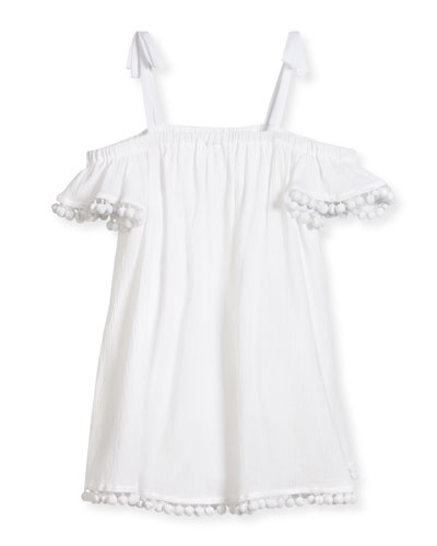 Eden Pompom Swim Coverup, White, Size 4-7