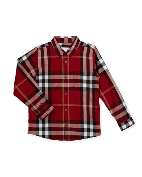 Fred Long-Sleeve Check Shirt, Parade Red, Size 4-14
