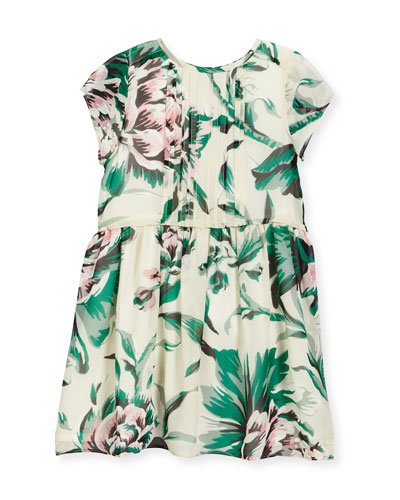 Teresa Pintucked Floral Silk Dress, Green, Size 4-14