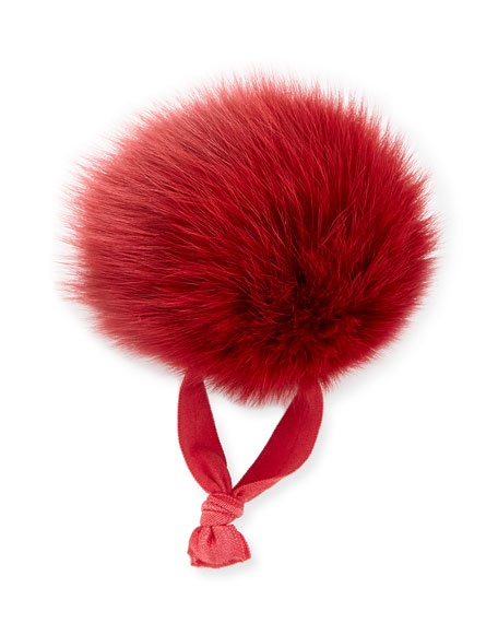 Fur Pompom Ponytail Holder, Red