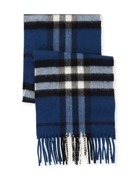Burberry Kid's Check Cashmere Scarf, Blue