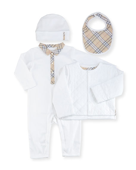 Burberry Zayden Cotton Layette Set, White, Size 6-24