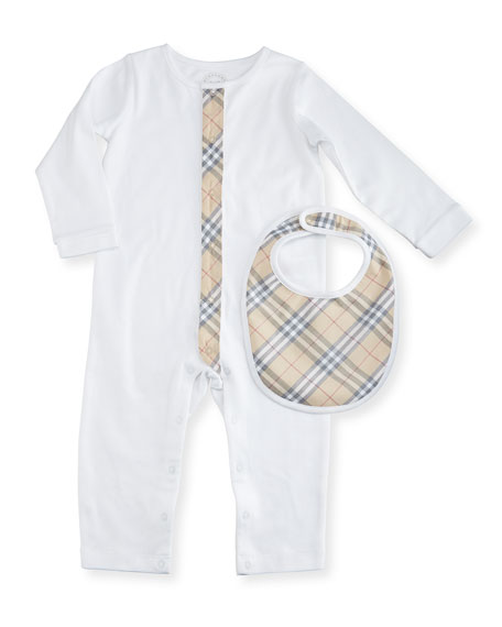 Burberry Merry Cotton Jersey Coverall w/ Bib, White,