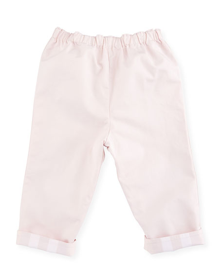 Burberry Darcy Reversible Solid-to-Check Pants, Light Pink, Size