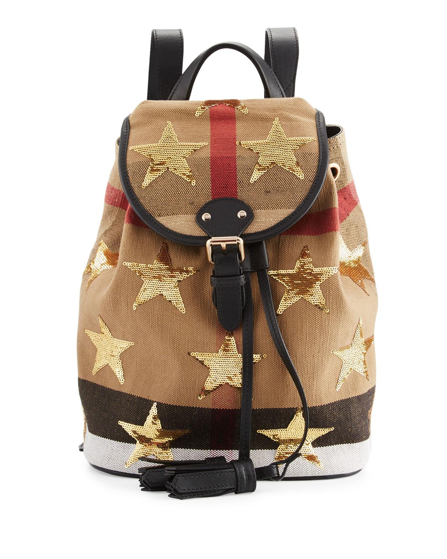 Burberry Kids Check Embellished Star Backpack Black Tan Neiman