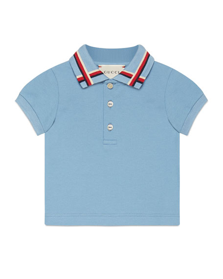 Gucci Sylvie Web Stretch Pique Polo Shirt, Blue/Red,