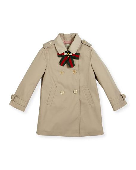 Gucci Twill Trenchcoat w/ Bow, Beige, Size 18-36