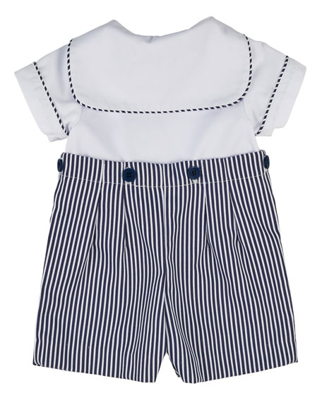 Ottoman Double-Breasted Sailor Shortall Set, Navy Blue/White, Size 3-24 Months